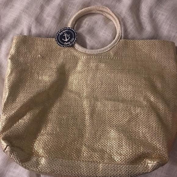 Handbags - Gold and white tote bag